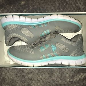 US Polo Gray and Teal Sneakers👟